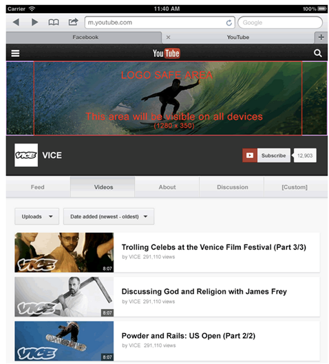 Tablet YouTube Page
