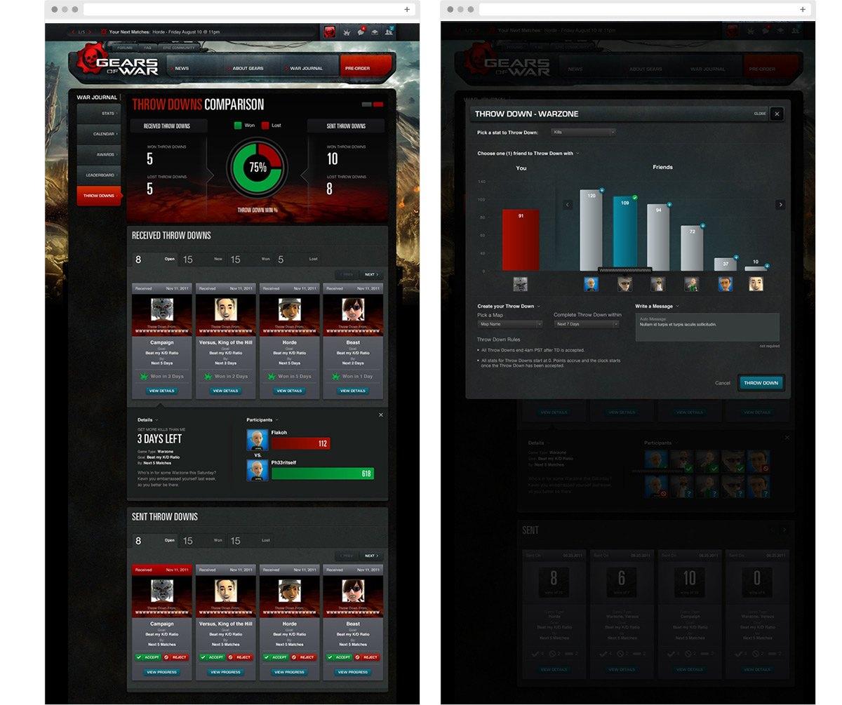 Desktop screenshots of the Gears of War WarJournal