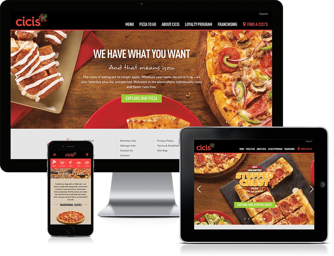 Cicis Desktop, Tablet, Mobile Views